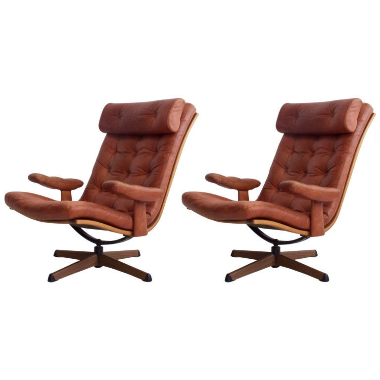 Pair of Brown Leather Swivel Chairs by Gote Mobler