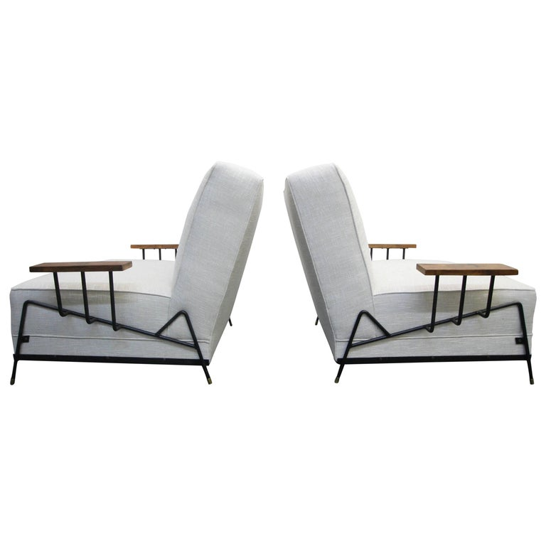 Monumental Pair of 1950s Midcentury California Iron Lounge Chairs