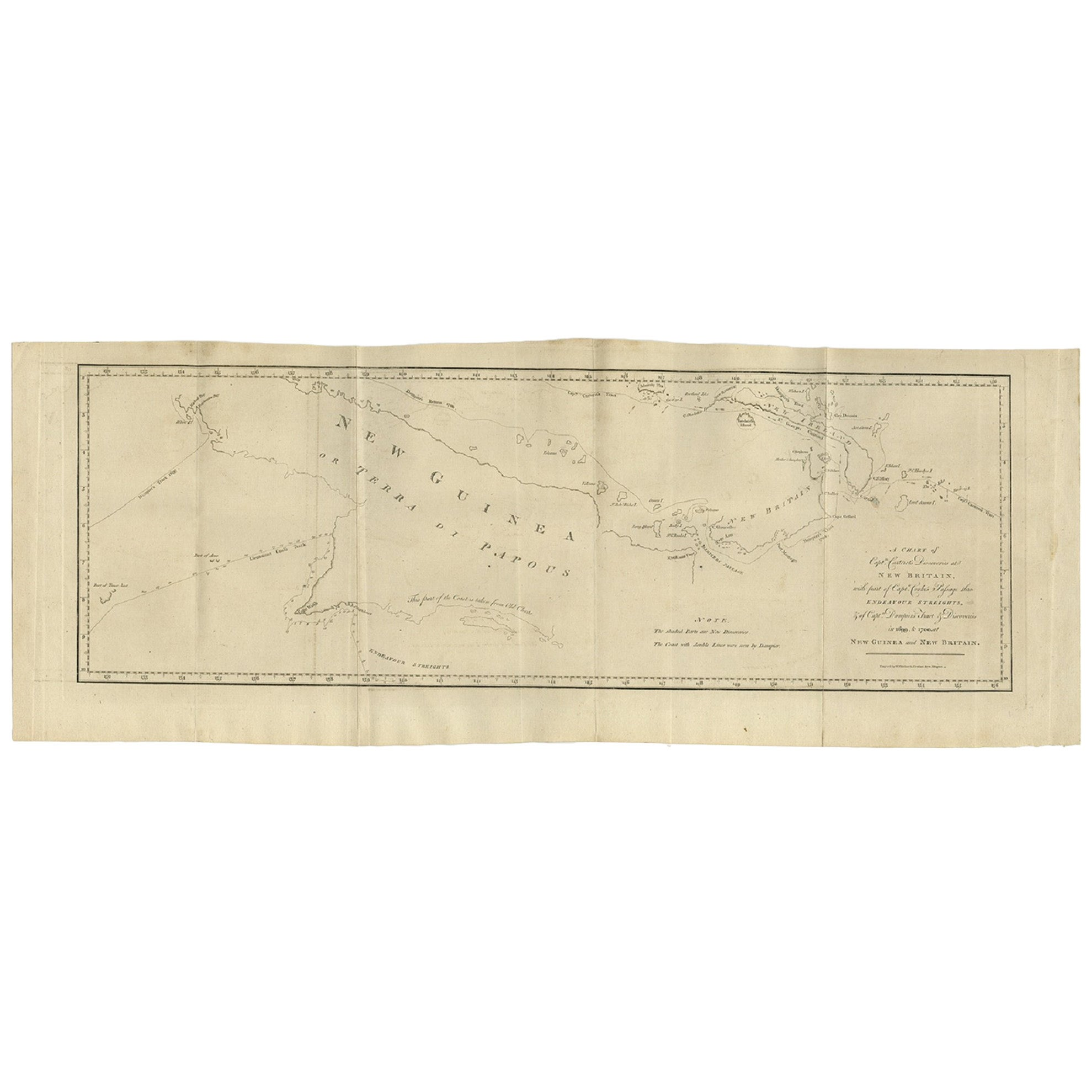 Antique Map of New Guinea and New Britain by P. Carteret, circa 1773
