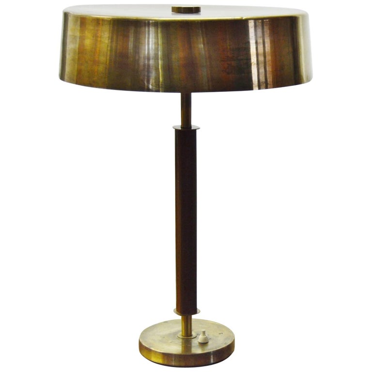 Large Swedish Brass Table Lamp from the 1940s