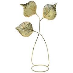 Extraordinary Huge Rhubarb Leaves Brass Floor Lamp by Tommaso Barbi