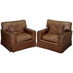 Pair of Vintage Hand Dyed Fully Aniline Leather Contemporary Club Armchairs