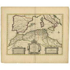 Antique Map of the Northern Coast of Africa and Southern Europe, circa 1745