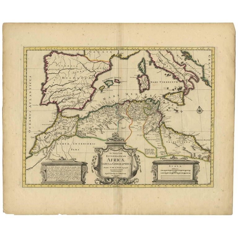 Antique Map Of The Northern Coast Of Africa And Southern Europe