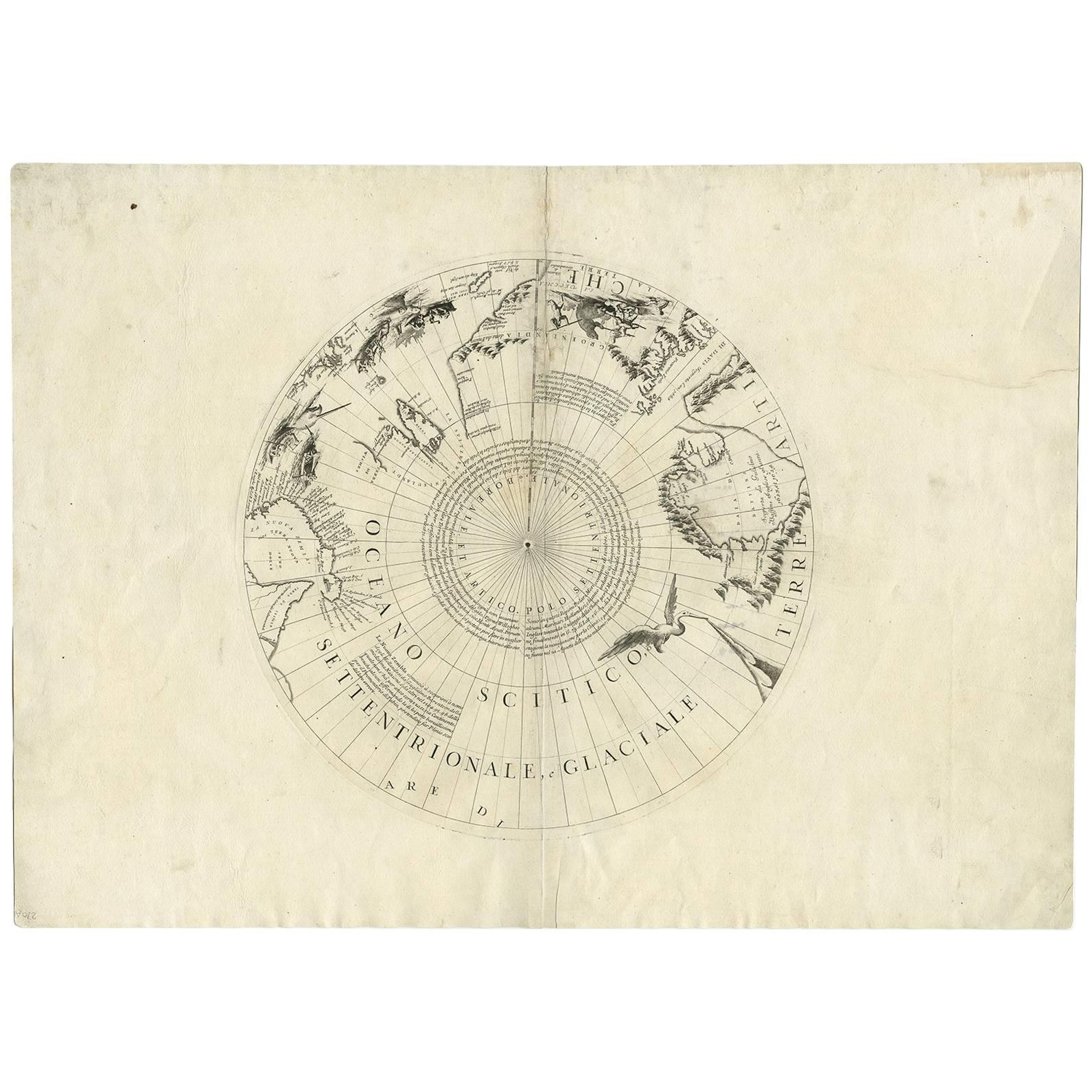 Antique Map of the North Pole by V.M. Coronelli, circa 1692
