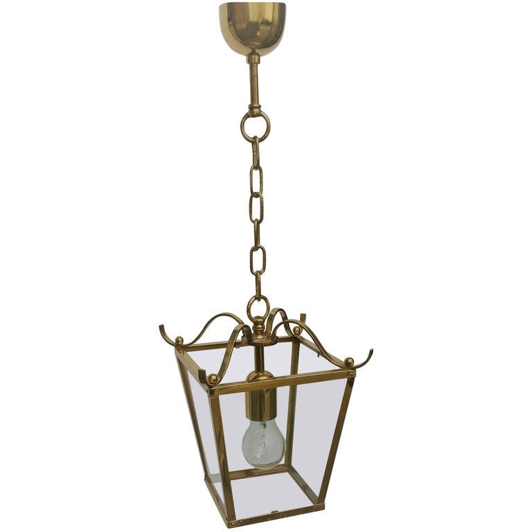 Small and Elegant Vintage Polished Brass and Glass Lantern, Germany, circa 1960s