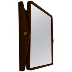 Adjustable Vintage Mahogany Wall or Able Mirror with Brass Fittings
