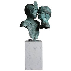 Sizeable and Signed Bronze Bust Sculpture of Sisters or Female Lovers