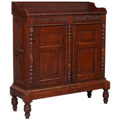 Hand-Carved Teak Colonial Cabinet Cupboard with Drawers Chinese Style circa 1920