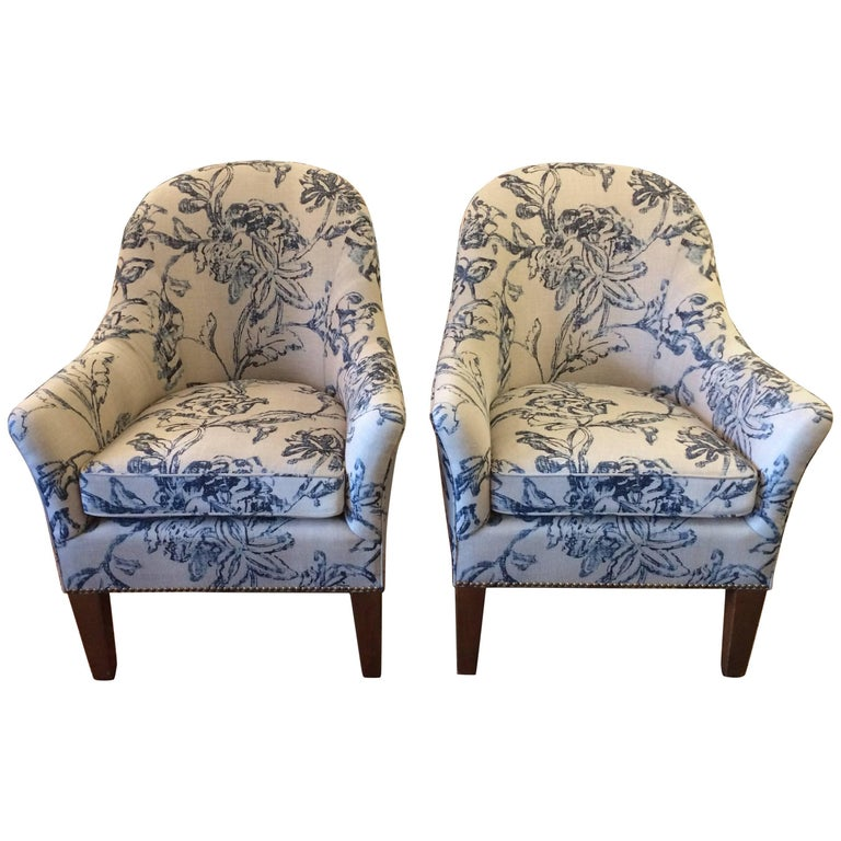 Classic Pair of Club Chairs in Blue and White Linen