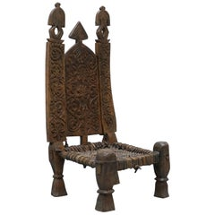 Handmade Oriental Vintage Cedar Wood Afgan Chair Nuristan Afghani, circa 1820
