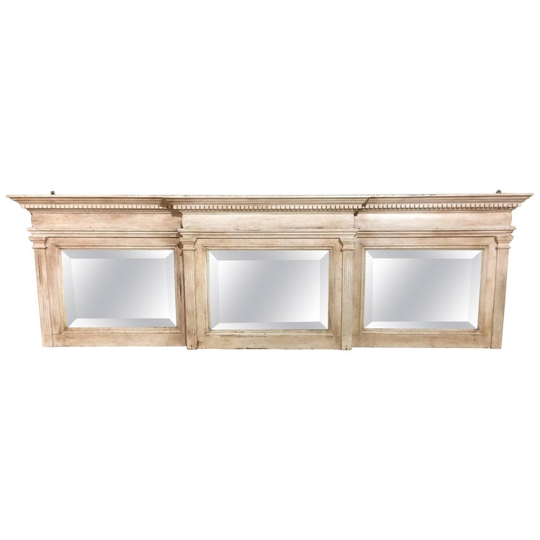 Architectural carved wood neoclassical long horizontal for Long wall mirrors for sale