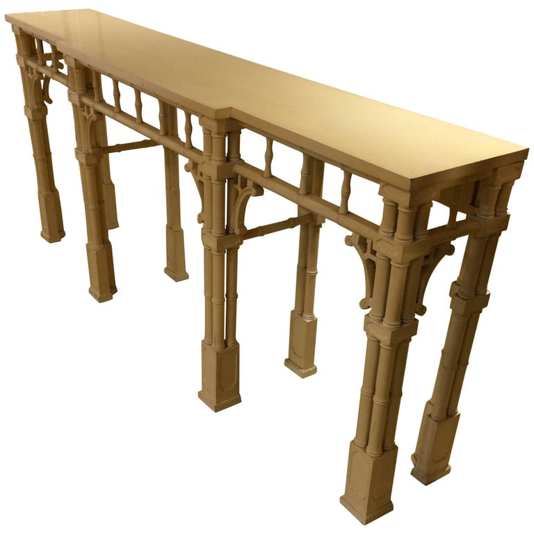 Elegant Long And Narrow Painted Faux Bamboo Wood Console Table