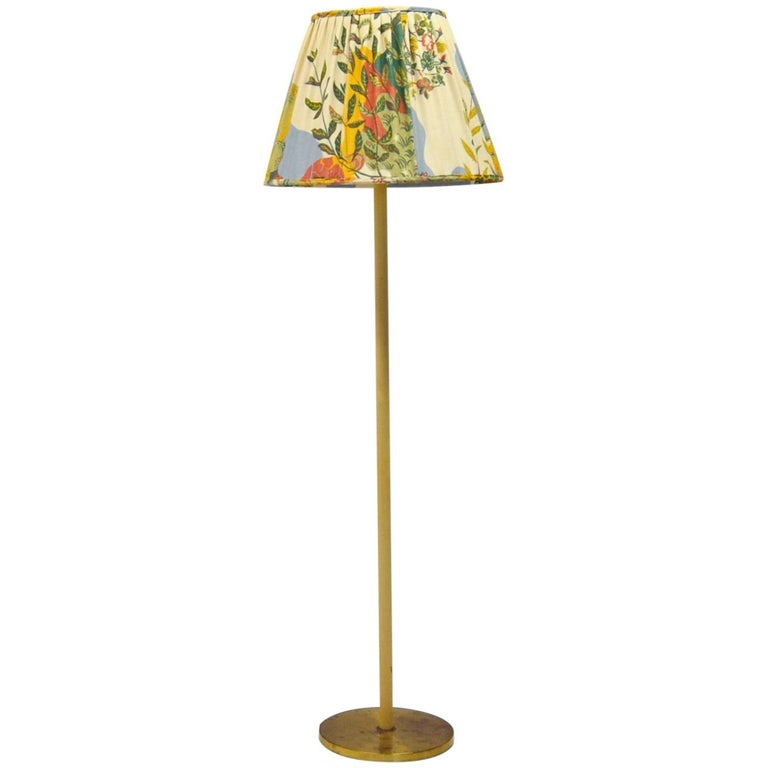 Swedish Floor Lamp with Uplight Made from Brass and White Metal