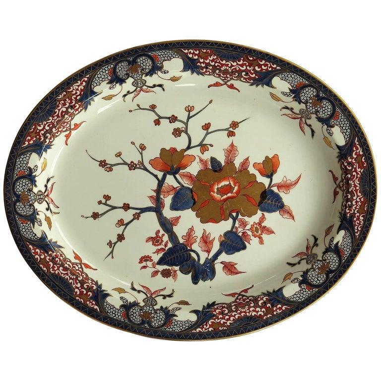 18th Century Derby Porcelain Large Platter Old Japan Pattern, Puce Mark Ca 1790