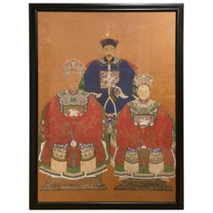 Superb Very Large Finely Rendered Chinese Antique Ancestral Portrait