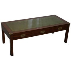 Military Campaign Coffee Table with Green Leather Surface and Drawers
