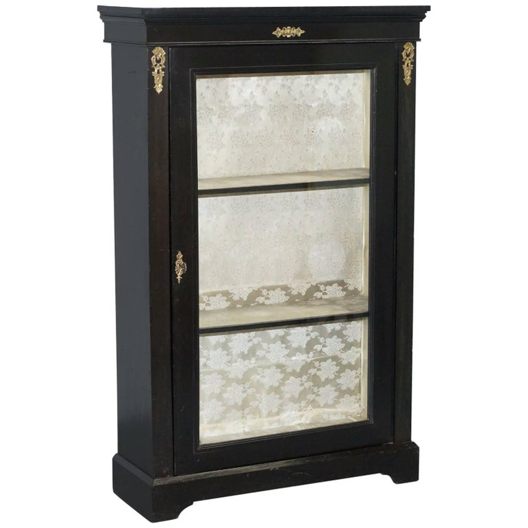 Lovely Grand Ebonized with Gilt Metal Hardware Bookcase Cabinet Display Case
