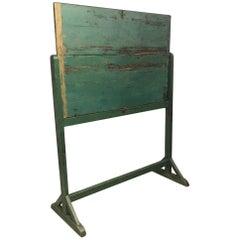 Distressed Green Wooden Rotatable Blackboard