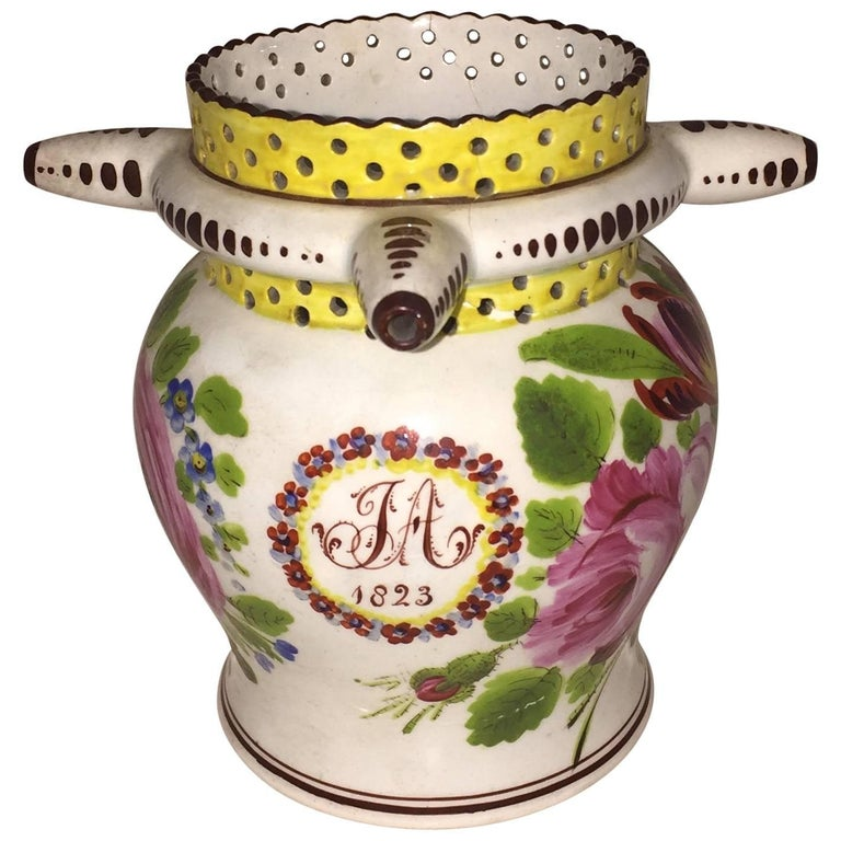 George IV Painted Puzzle Jug, Dated 1823 with Initials JA