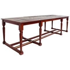 Very Large Mahogany Library Table, 19th Century, France