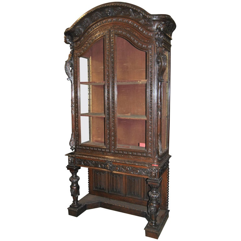 19th Century Carved Oak French Display / China Cabinet