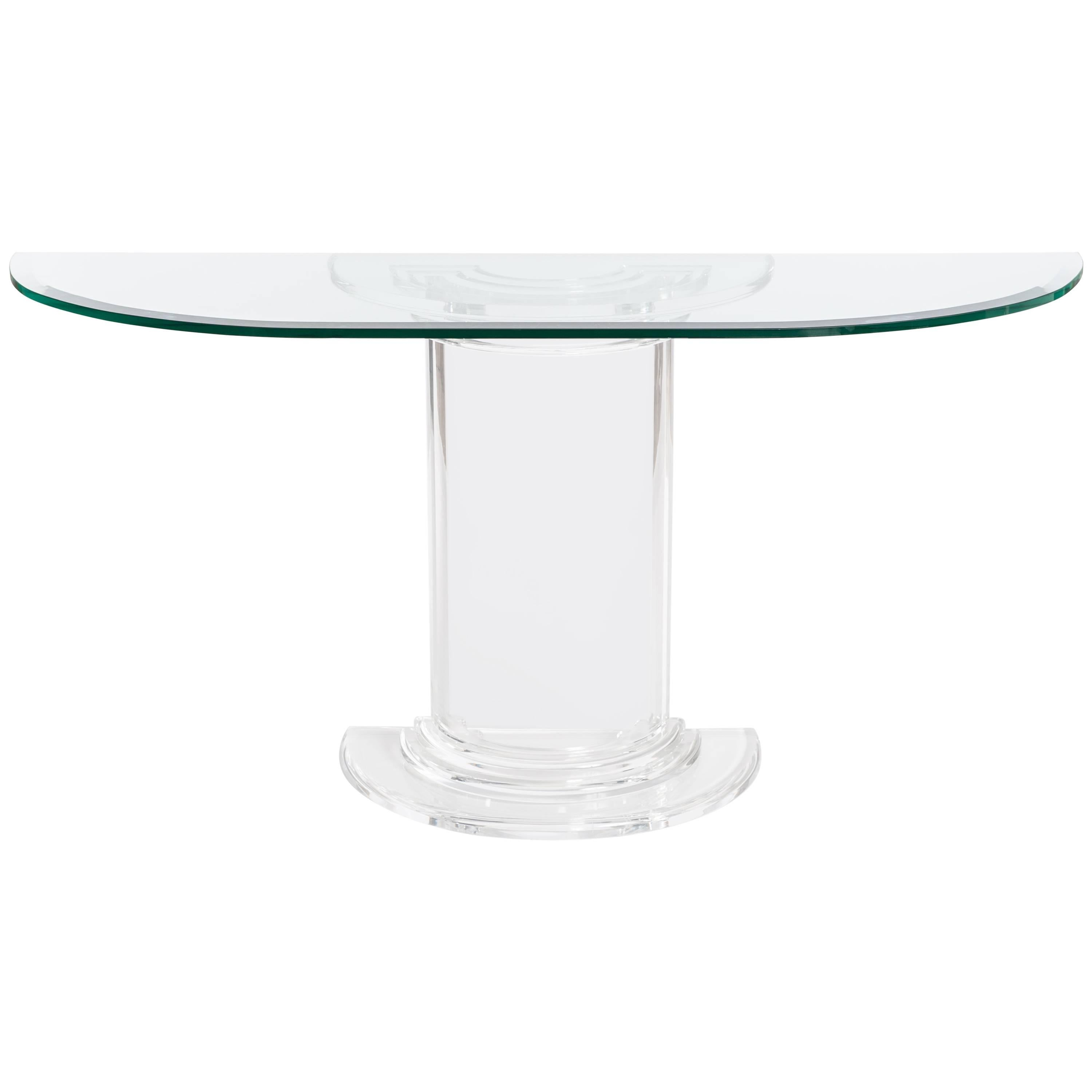 Midcentury Italian Plexiglass Console Table With Crystal Glass Table Top  For Sale