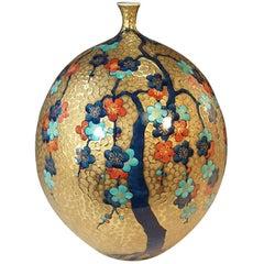 Gilded Large Porcelain Vase by Master Artist (Cherry Blossom Series)