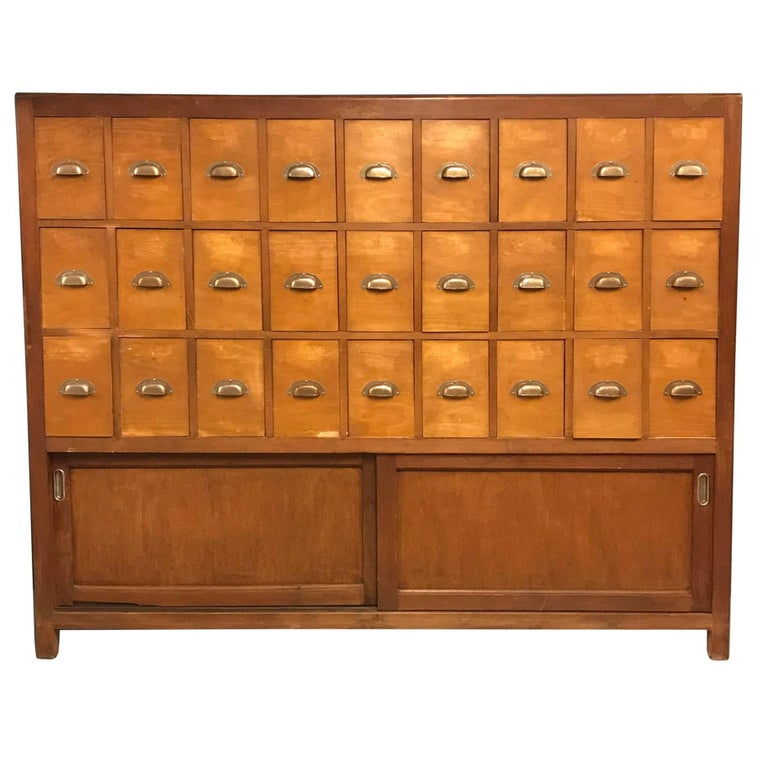 Vintage wooden bank of drawers cabinet for sale at 1stdibs for Kitchen drawers for sale