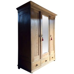 Antique French Solid Pine Armoire Wardrobe Large Triple Mirror Fronted