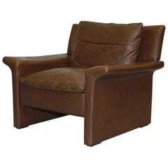 Aged Brown Leather Mid-Century Modern Danish Contemporary Luxury Armchair Retro