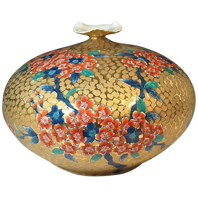 Japanese Ovoid Gilded Porcelain Decorative Vase by Master Artist For Sale