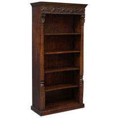 Solid Hand-Carved Teak Wood Bookcase, Extremely Heavy and Solid Well Made Piece