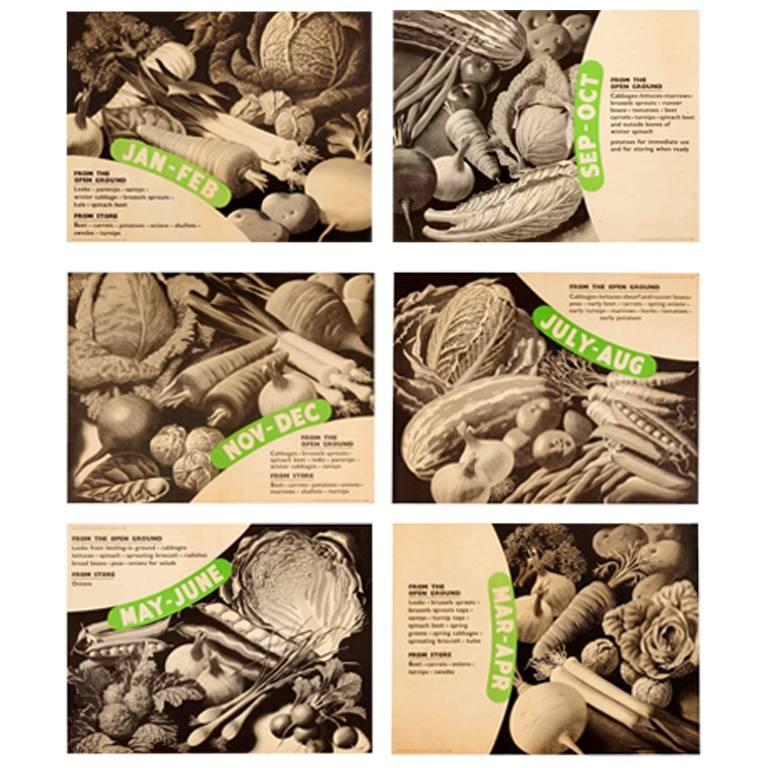 Set of Six Original World War Two Food Posters - Vegetables from the Open Ground For Sale