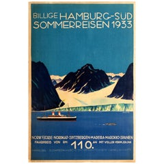 Original Vintage Art Deco Cruise Ship Travel Poster for Hamburg Sud Summer Trips