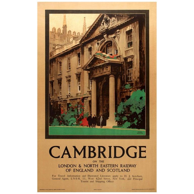 Original Vintage LNER Railway Travel Poster Featuring King's College Cambridge