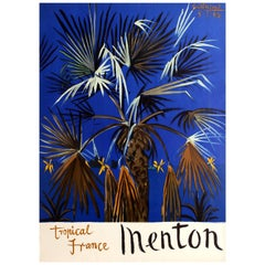 Original Vintage French Riviera Travel Poster Advertising Menton Tropical France