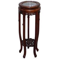 Large Antique Chinese Floral Tree Carved Jardinière Plant Pot Stand