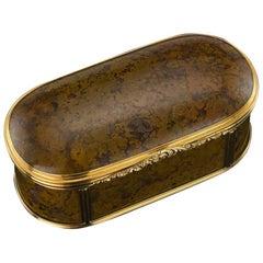 Antique German Large 18-Karat Gold-Mounted Hardstone Snuff Box, circa 1800
