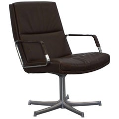 Original 1970s Bernd Munzebrock for Walter Knoll Brown Leather Office Chair