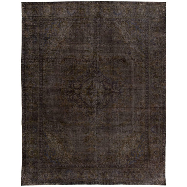 Vintage Distressed Overdyed Rug For Sale At 1stdibs