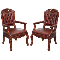 Pair of Chesterfield Vintage French Louis Oxblood Oversized Carved Armchairs