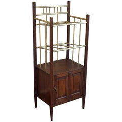 Arts & Crafts Oak and Polished Brass Magazine Stand with Cabinet from circa 1900