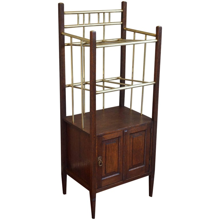 Arts & Crafts Oak and Polished Brass Magazine Stand with Cabinet, circa 1900