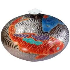 Imari Decorative Large Porcelain Vase by Fujii Tadashi