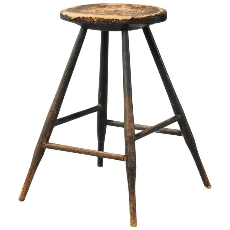 Early American Country Windsor Stool or Occasional Table For Sale
