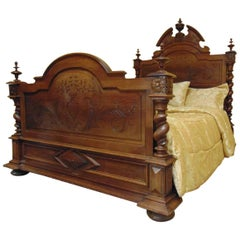 Bed Hand-Carved Louis XIII, circa 1880