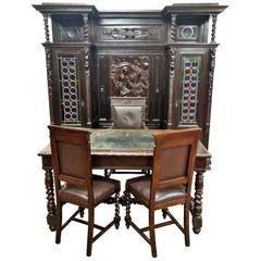 Italian 19th century carved notorial study furniture