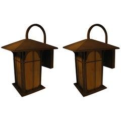 Pair of Patinated Copper Arts & Crafts Exterior Sconces