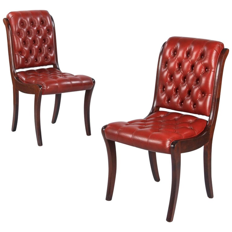 Pair of English Mahogany and Red Tufted Leather Side Chairs, 1950s